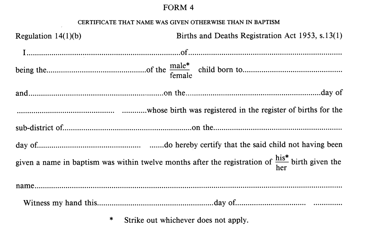 Birth registration Form 4 (England & Wales)