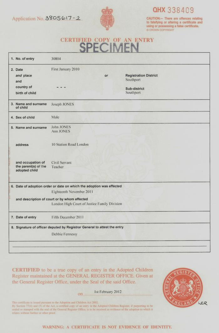 birth certificate in united kingdom
