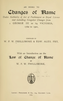 Index to Changes of Name compiled by Phillimore & Fry